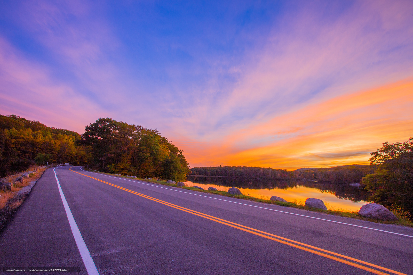 Download wallpaper sunset road lake trees free desktop - Wallpaper picture ...