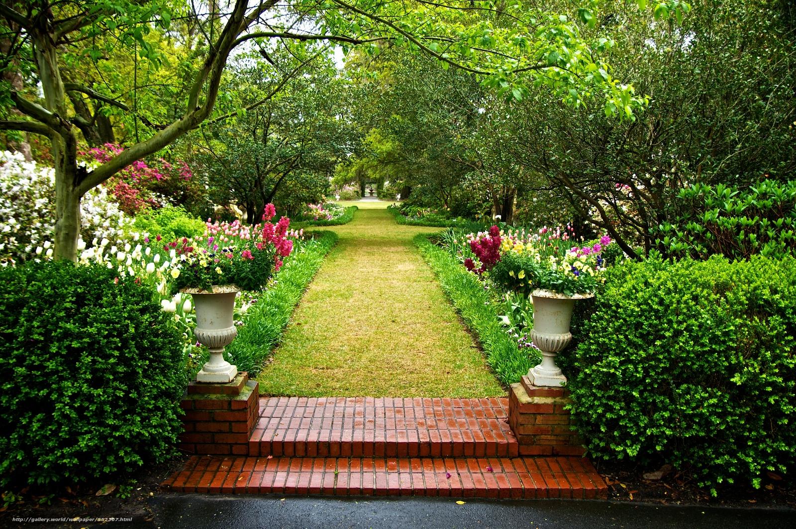 Descargar gratis jard n rboles flores paisaje fondos for Arboles de flores para jardin