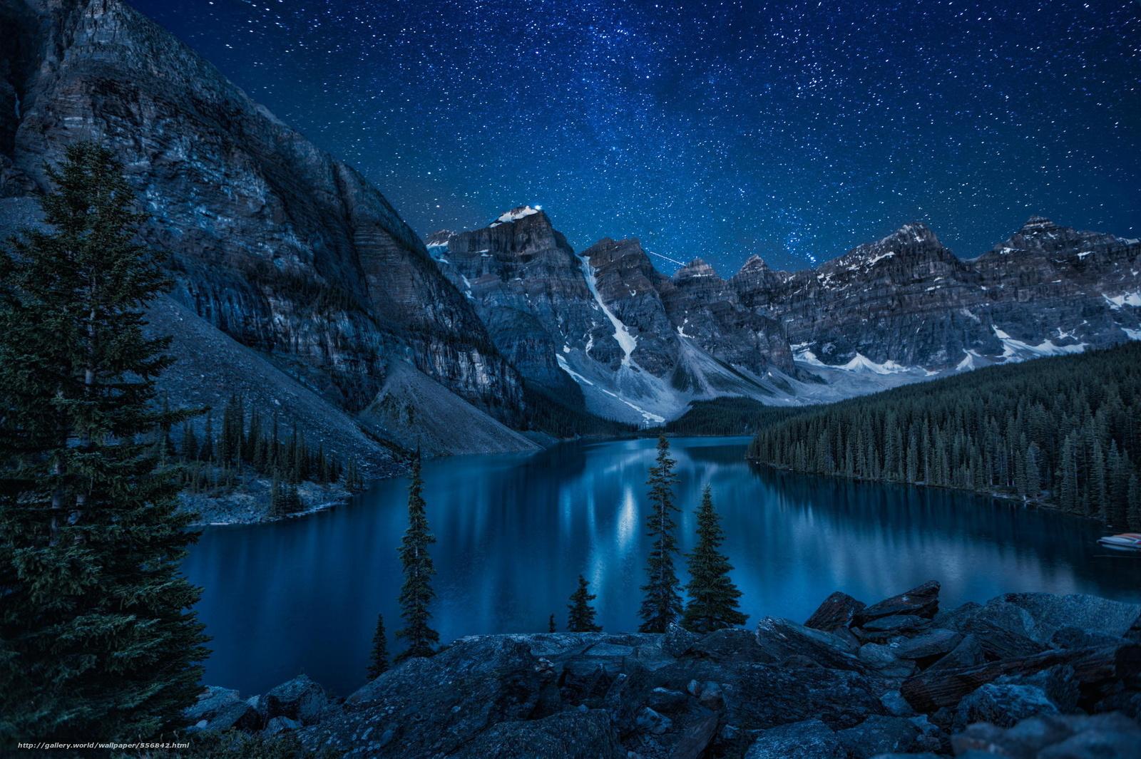 Горы озеро природа река лес ночь