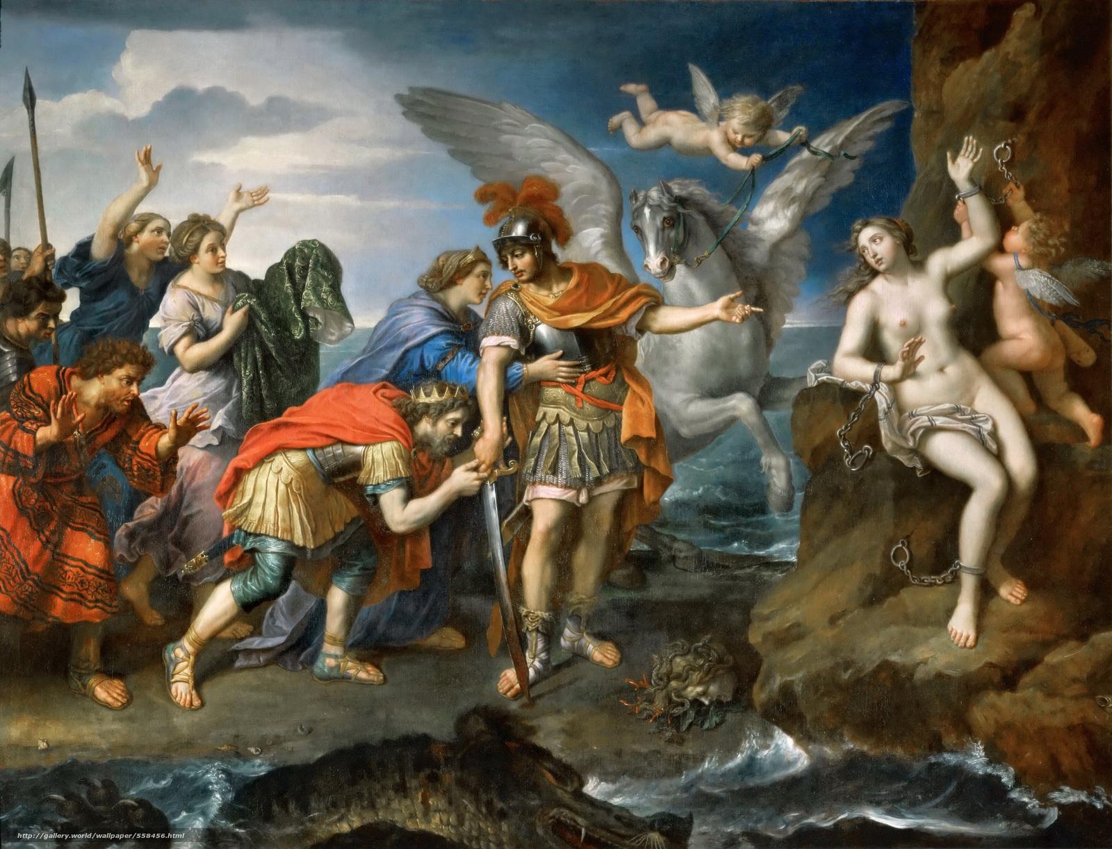 Download wallpaper Mignard Pierre Perseus and Andromeda