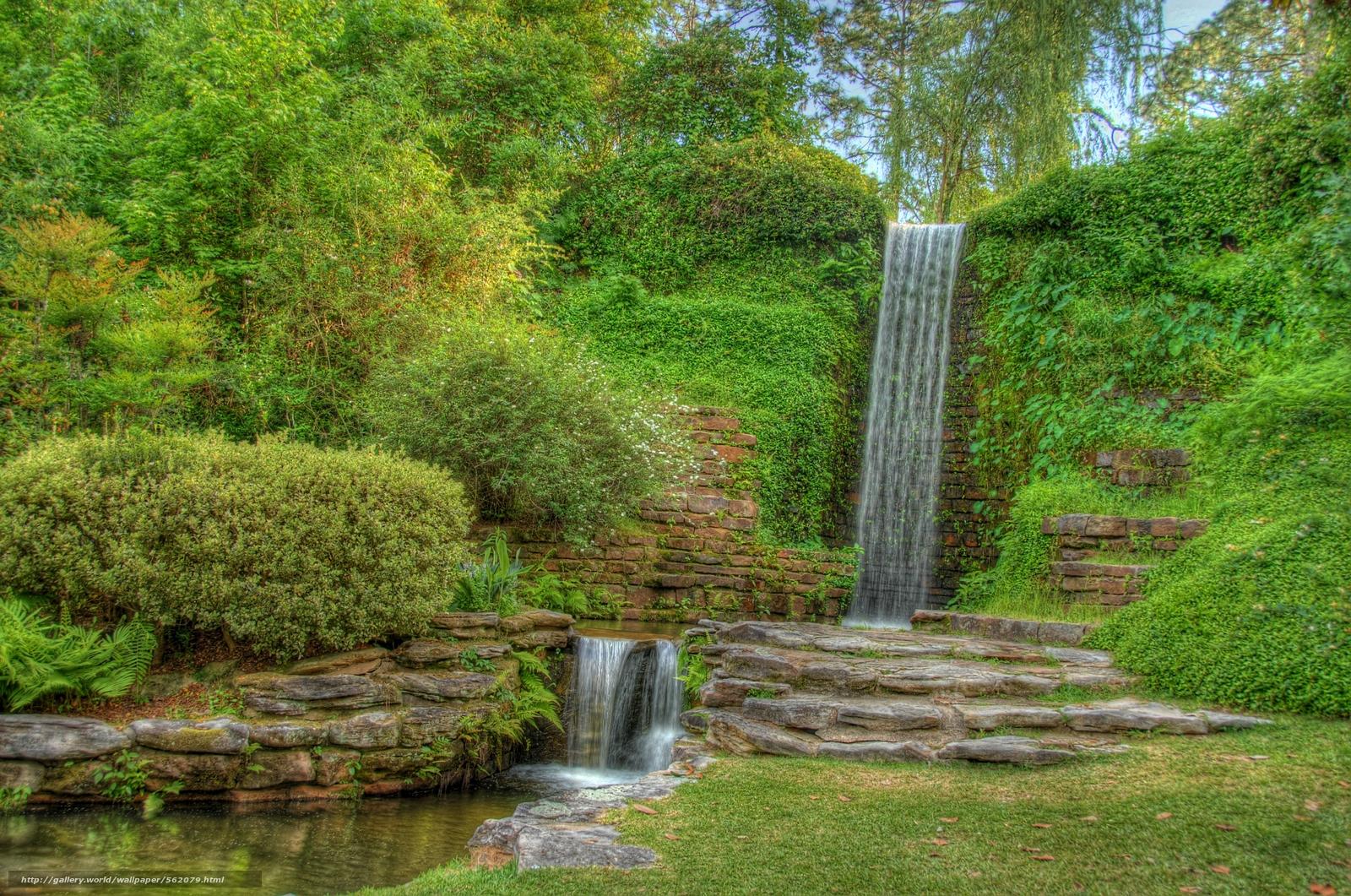 壁紙をダウンロード 庭, 滝, 植物, 木 デスクトップ