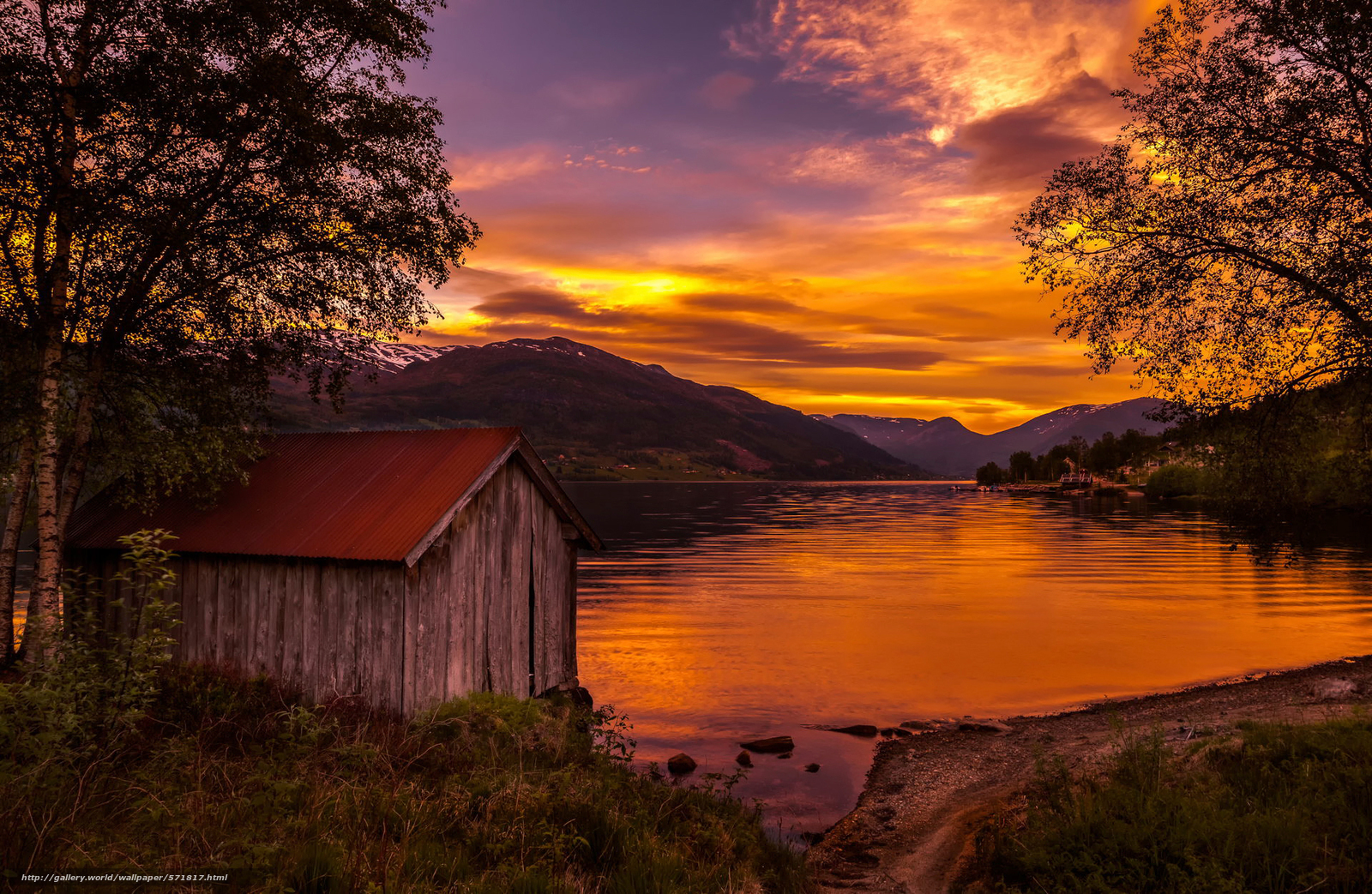 download wallpaper sunset norway lake free desktop