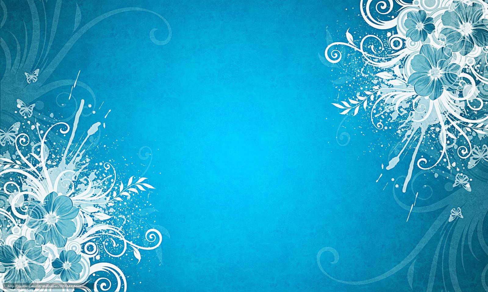 Descargar Gratis Fondo Azul, Mariposas, Flores Fondos De