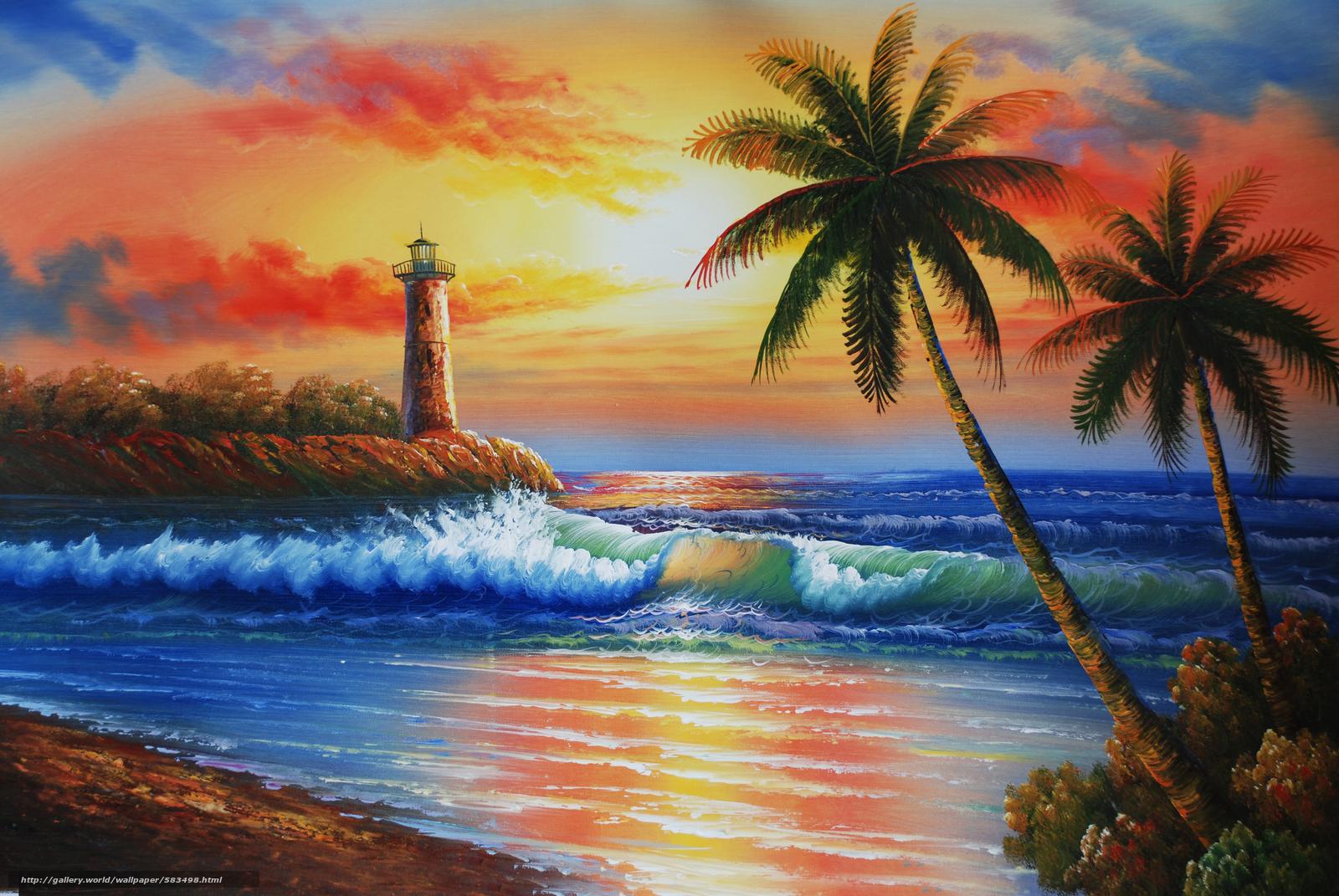 , Himmel, Malerei, Insel, Leuchtturm, Meer, Palms, Sonnenuntergang