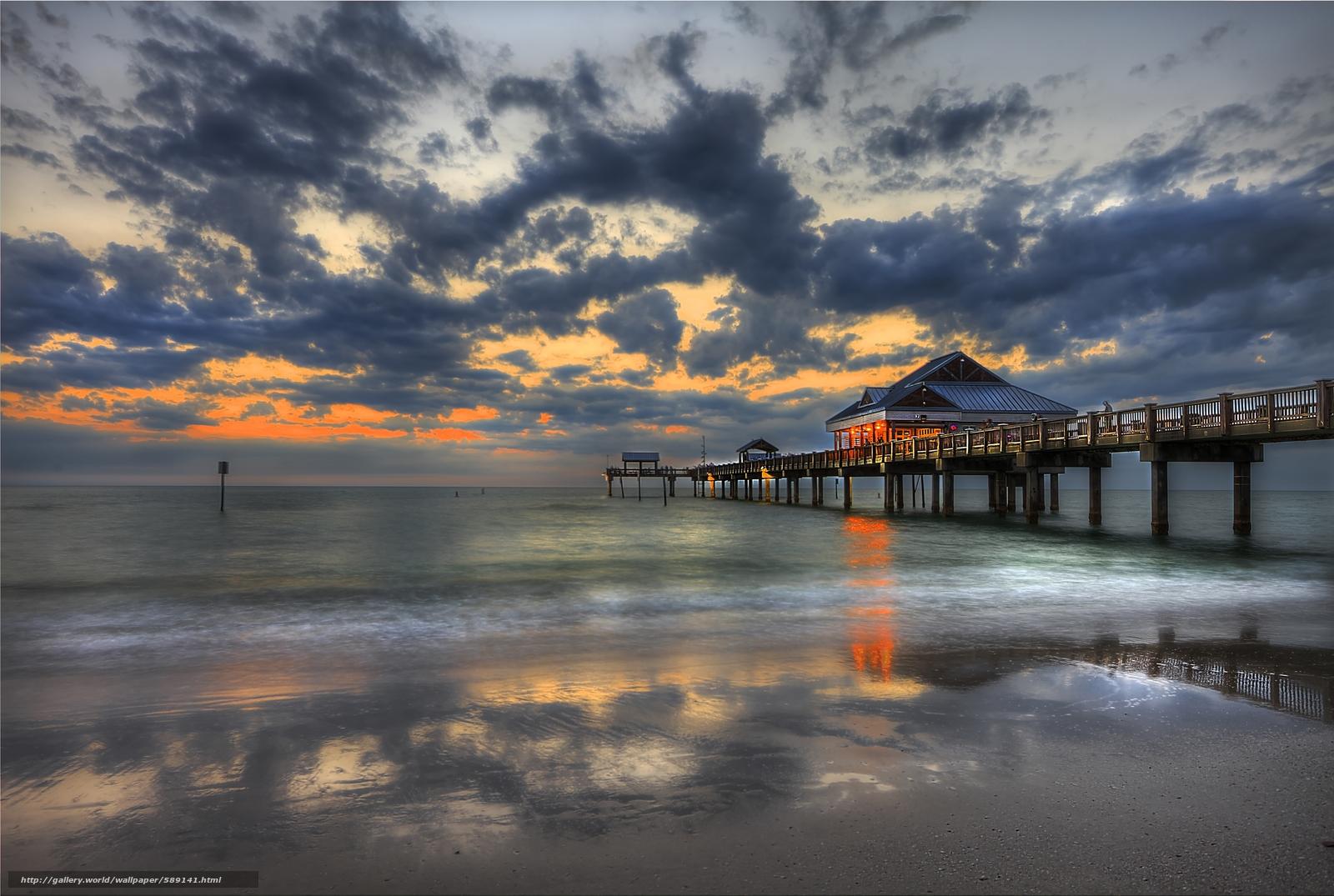 Wallpaper Clearwater Fl: Download Wallpaper Sunset, Pier Clearwater, Florida