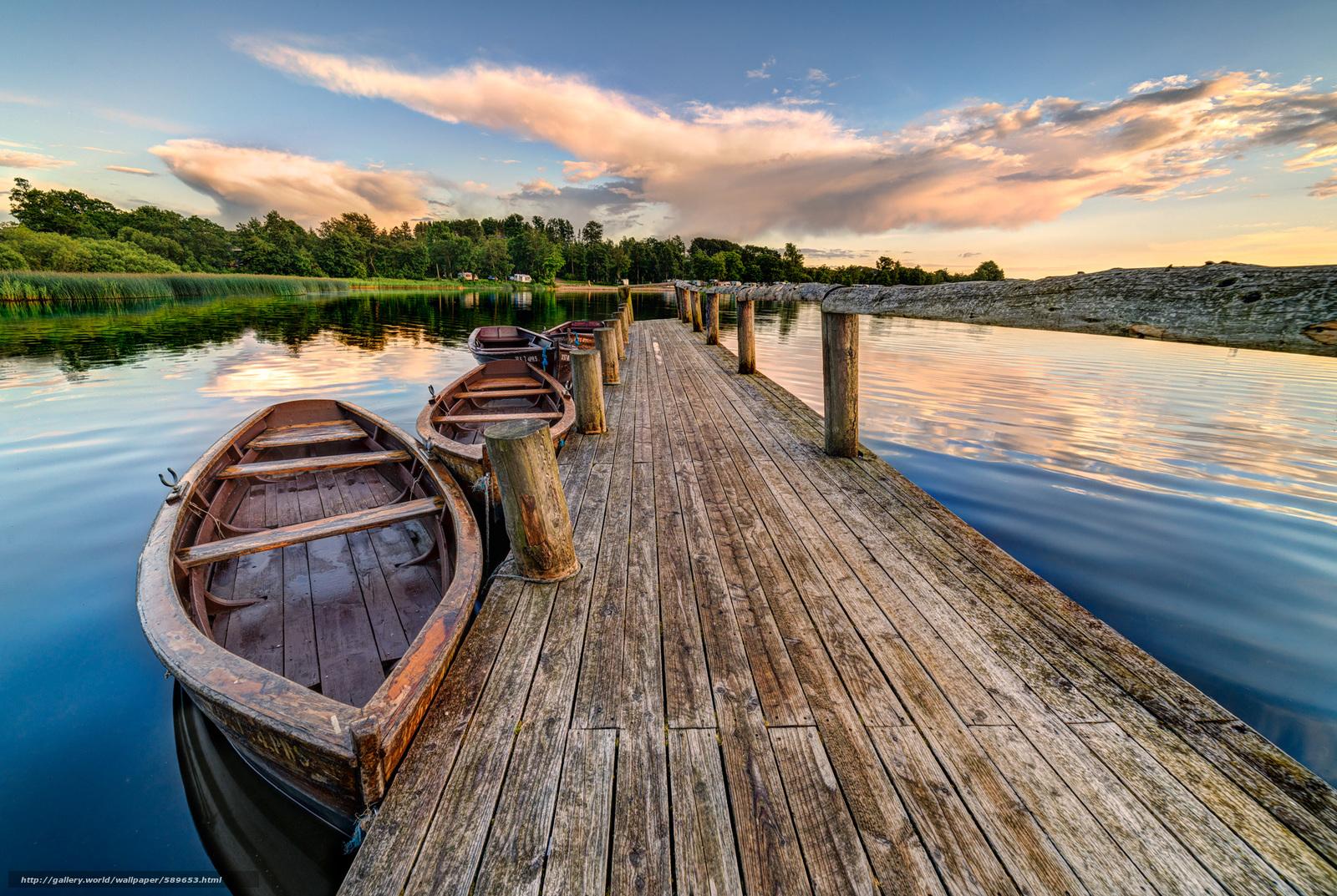下载壁纸 耶林, 丹麦, 湖, 桥 免费为您的桌面分辨率的壁纸 2048x1374