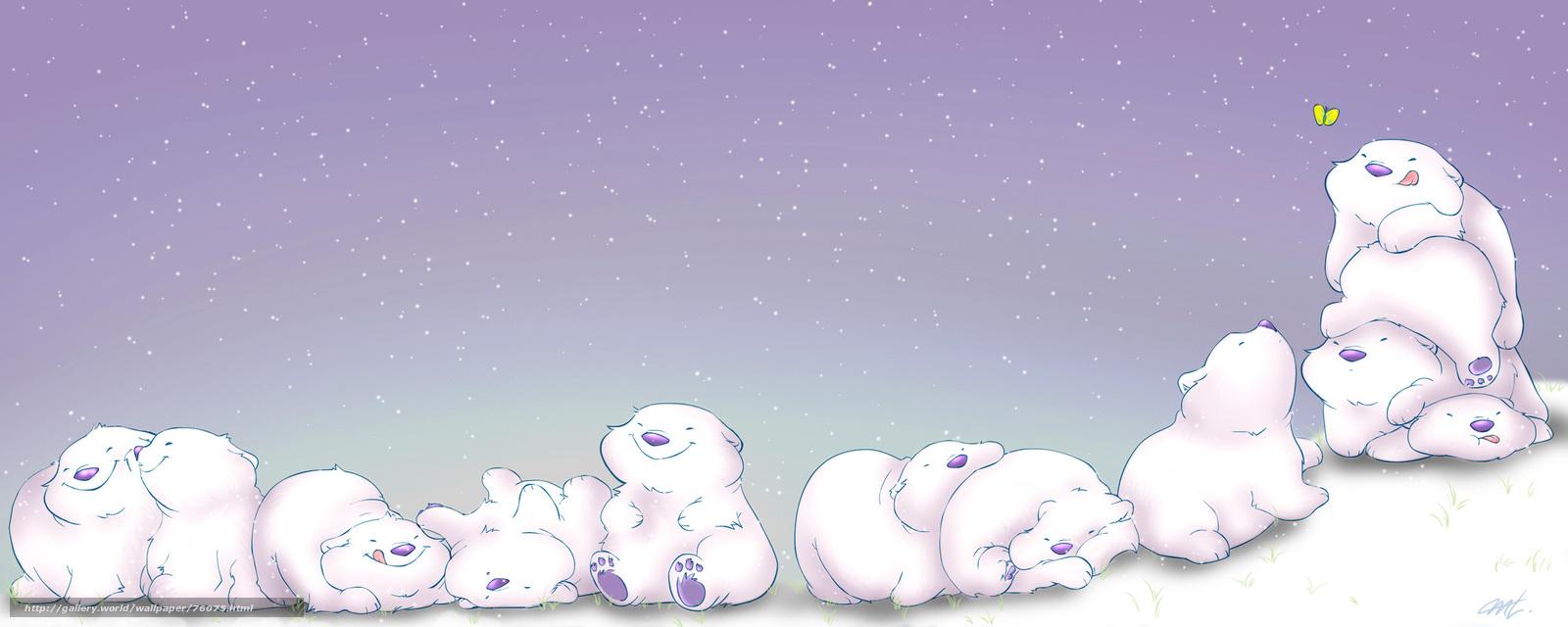 Скачать обои мишки, бабочка, снег ...: ru.gde-fon.com/download/mishki_babochka_sneg/76075/2560x1024
