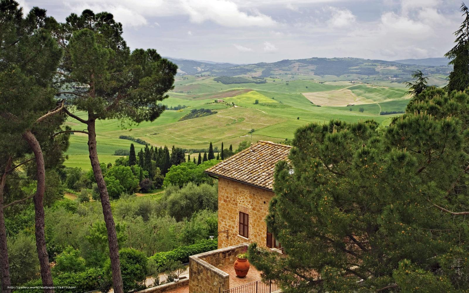 Скачать обои италия дом небо деревья