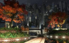 city, Garden, Trees, autumn