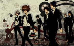 teacher mafia Reborn!, Sawada tsunaeshi, Vongole family, Characters, Art, gokudera, Mukuro rokudo, Reborn, Takeshi Yamamoto, Sasagawa rehey, lar Milch, Lambo, Hibari