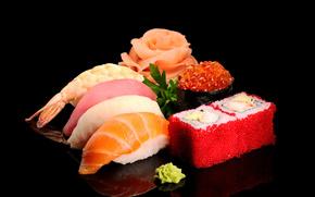 Thunfisch, Garnele, Lachs, Fisch, Sushi, Reis, Reh, Wasabi, Greens, Meeresfrchte, Schwarzer Hintergrund