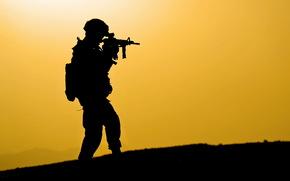 soldat, silhouette, fond