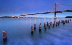 San Francisco, miasto, California, Bay Bridge, USA, most, wiata, owietlenie, bet, wybrzee, wieczr, niebo, lazur, krajobraz