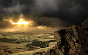 valley, stones, CLOUDS, light