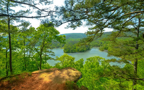 Hills, trees, river, landscape, Arkansas