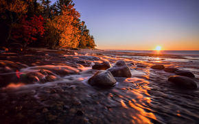 sunset, landscape, Michigan, Hurricane River