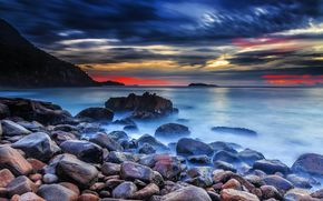stones, Rocks, sea, shore, sunset, landscape