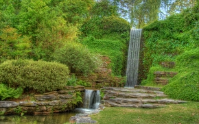 plants, trees, waterfalls, landscape, garden