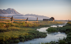 fence, cabin, Mountains, landscape, river