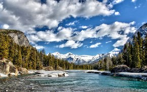 trees, landscape, Mountains, river