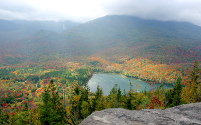 autumn, lake, New York, forest, Adirondacks, trees, landscape