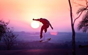 skateboard, cască, soare, apus de soare, tip, sări