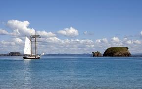 statek, wysepki, krajobraz, HORIZON, morze, jacht, p?yn??, niebo, ziemia, chmury, lazur, charakter