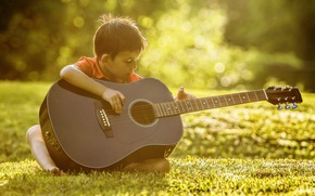 guitar, Music, boy