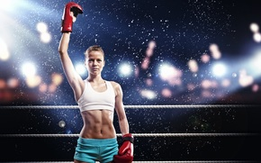girl, boxing, ring, Sport