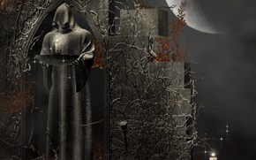 death, stone, Candles, hood, Rendering, Fantasy, PATTERNS, moon, priest, figure