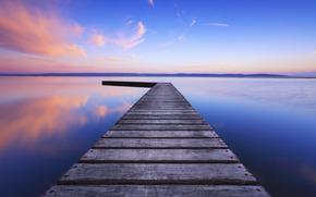 woda, lazur, wiecz?r, niebo, g?adka powierzchnia, Anglia, most, odbicie, Zjednoczone Kr?lestwo, jezioro, chmury, drewno