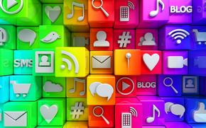 Internet, Icoane, cuburi, rețele sociale