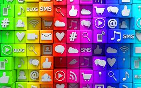 Icoane, Internet, rețele sociale, cuburi, rețea