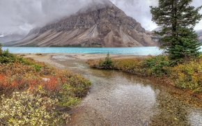 trees, CLOUDS, Mountains, landscape, lake