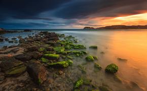 sky, evening, stones, Murcia, sea, Spain, clouds