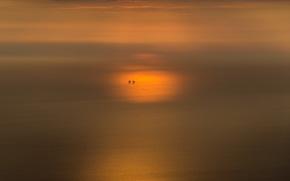 sunset, sea, minimalism