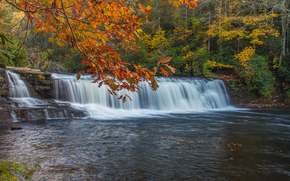 waterfall, trees, river, nature, autumn