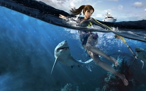 Shark, girl, sea