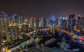 Dubai, UAE, city ??nightlife, panorama, road, building