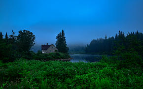 trees, cabin, river, fog, Jacques Cartier National park, landscape