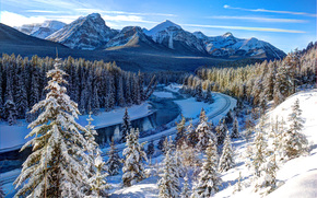 Mountains, trees, river, railroad, winter, Bow river, Canada, landscape
