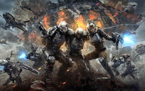 Planetside 2, fight, spaceships, lasers, explosions, cosmonauts
