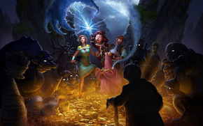The_book_of_unwritten_tales_2, gold, magic, girl, monsters, escape