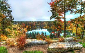 осень, озеро, лес, деревья, камни, пейзаж