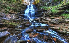 водопад, скалы, лес, камни, деревья, пприрода