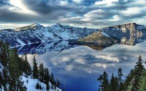 Crater Lake, зима, озеро, остров, лес, деревья, пейзаж