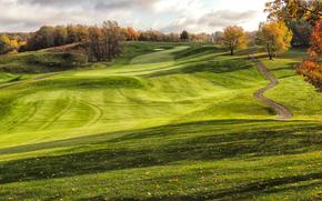 осень, поле, холмы, дорога, деревья, пейзаж, Golf