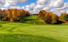 осень, поле, холмы, деревья, пейзаж, Golf