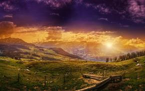 apus de soare, Munți, Hills, lac, copaci, peisaj