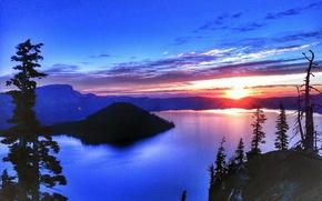 Crater Lake, apus de soare, lac, peisaj